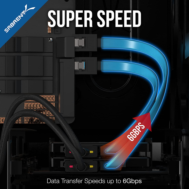 Sabrent SATA-Kabel CB-SDSP Daten SSD // SATA Festplatten Anschluss Kit Molex 4 Pin zu x2 15 Pin SATA Strom Splitter Kabel und x2 Sata Kabel