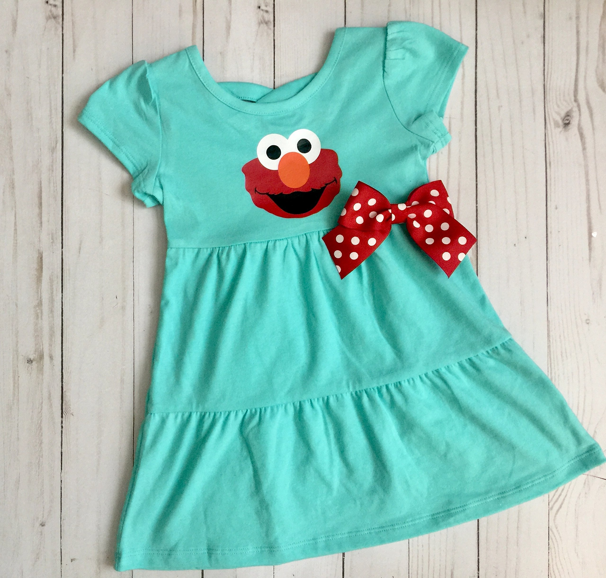 Elmo dress for Birthday in aqua and red