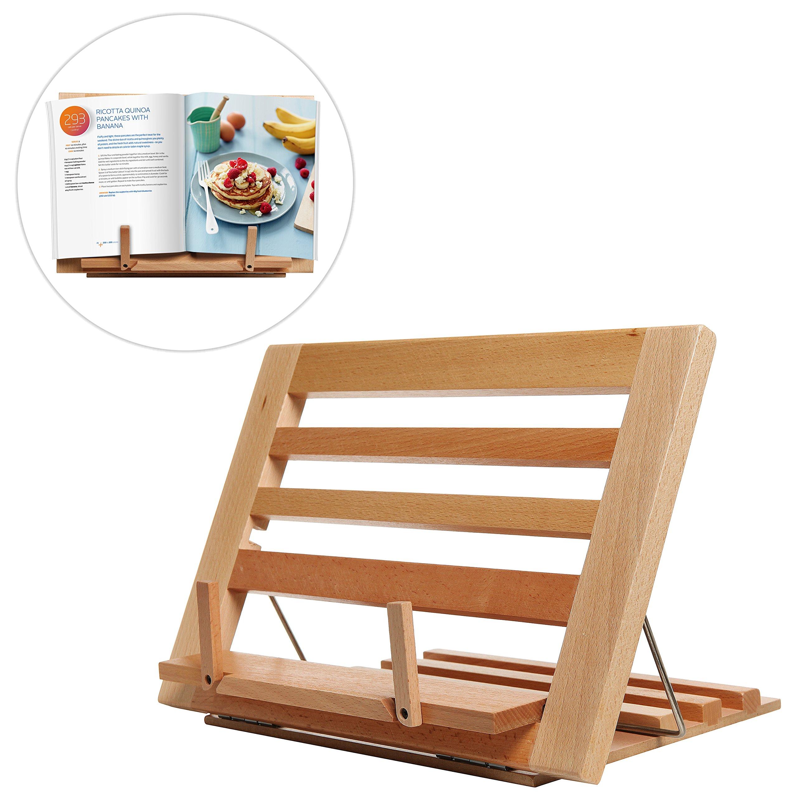Countertop Folding Alder Wood Cookbook Holder / Adjustable Tabletop Display Easel Stand for Books & iPads