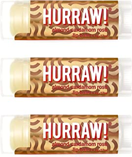 product image for Hurraw! Vata (Almond, Cardamom, Rose) Lip Balm, 3 Pack: Organic, Certified Vegan, Cruelty and Gluten Free. Non-GMO, 100% Natural Ingredients. Bee, Shea, Soy and Palm Free. Made in USA