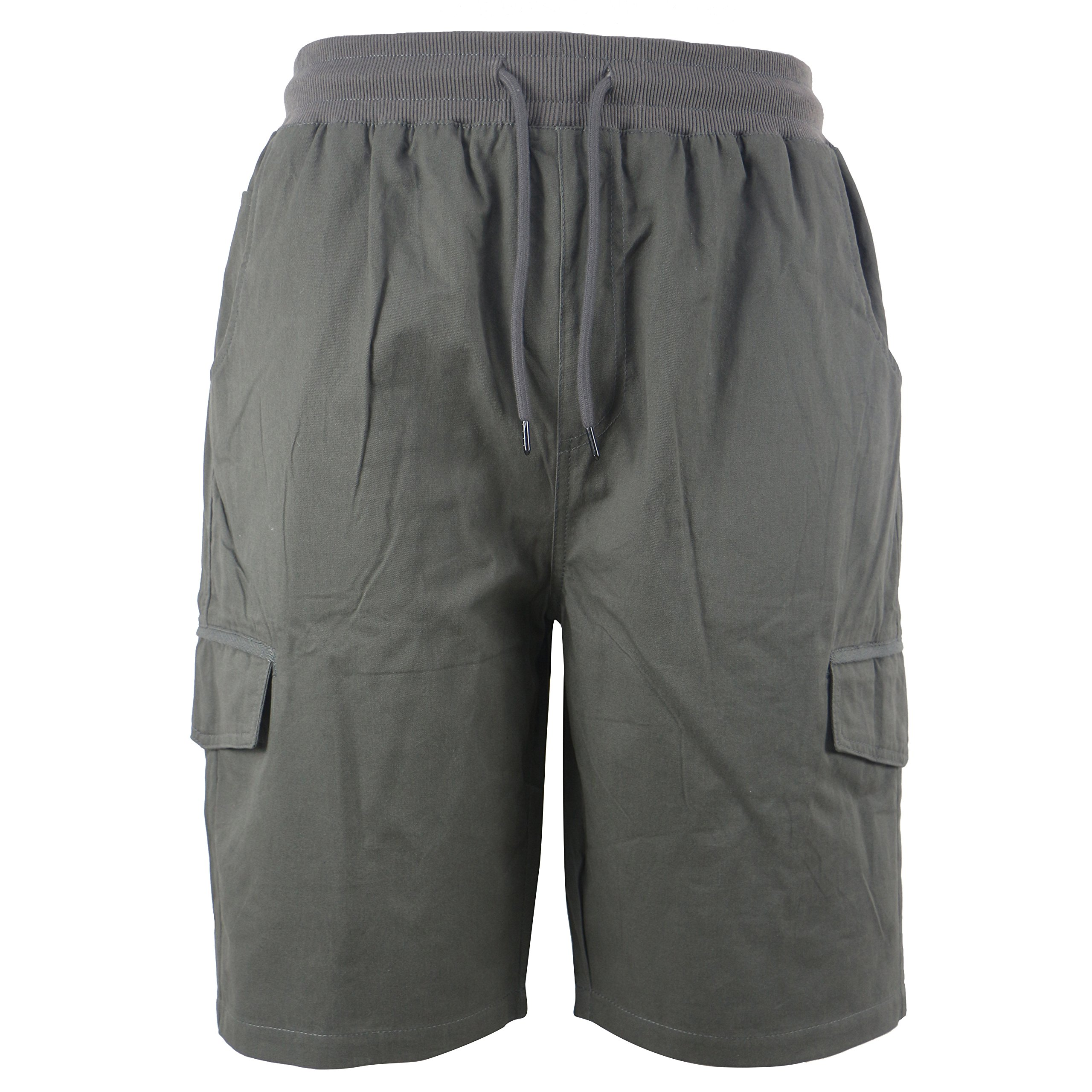 Tanbridge Men's Cotton Cargo Shorts with Pockets Loose Fit Outdoor Wear Twill Elastic Waist Shorts Grey 34