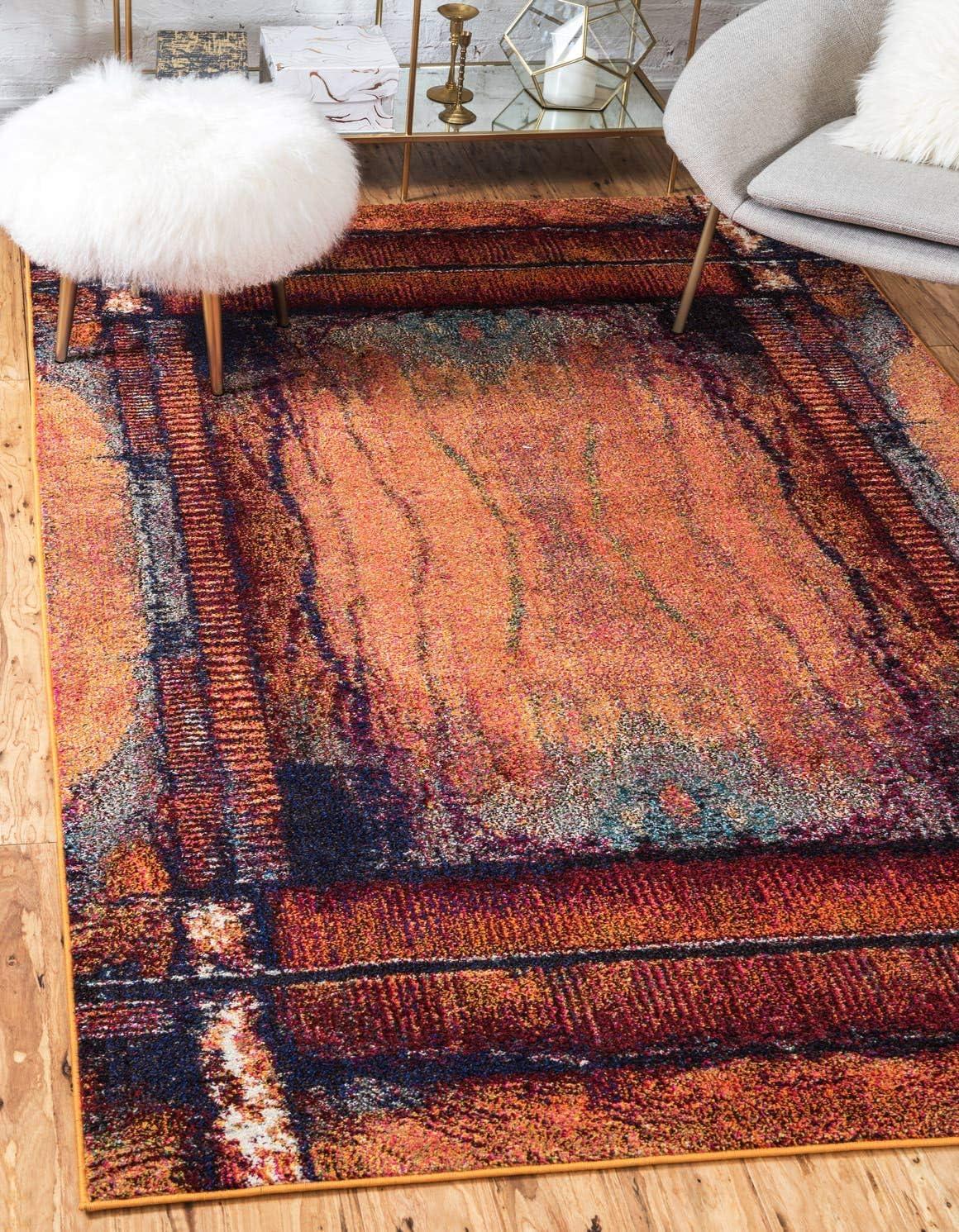 Unique Loom Estrella Collection Modern Abstract Orange Area Rug 8 0 x 11 0
