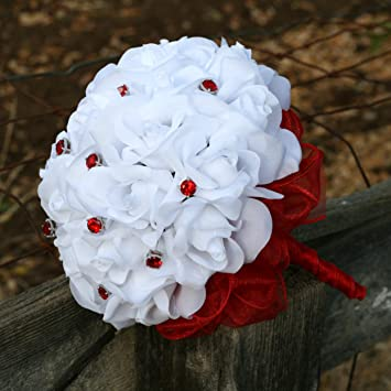 Amazon white silk roses 2 dozen 12 red jewels red ribbon white silk roses 2 dozen 12 red jewels red ribbon bridal wedding bouquet mightylinksfo
