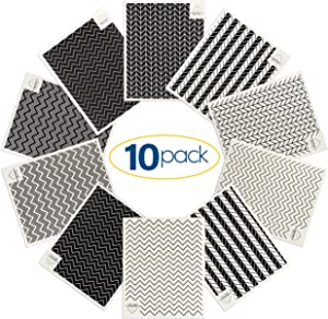 Walker Essentials Swedish Dishcloths - Reusable, Washable Thick Cotton Towels - Kitchen, Hand, Counter Wipes - Super Absorbent, Quick Drying Cleaning Cloths with Geometric Designs - White, Pack of 10