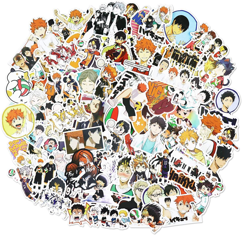 monopat/ín para Ordenador port/átil WayOuter Pegatinas Haikyuu 100 Piezas de Pegatinas de Anime para ni/ños Pegatina Impermeable para Coche