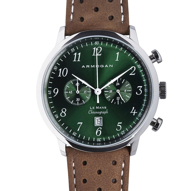 Armogan Le Mans - Montre Homme - Chronographe avec Bracelet Cuir - Emerald Green C51