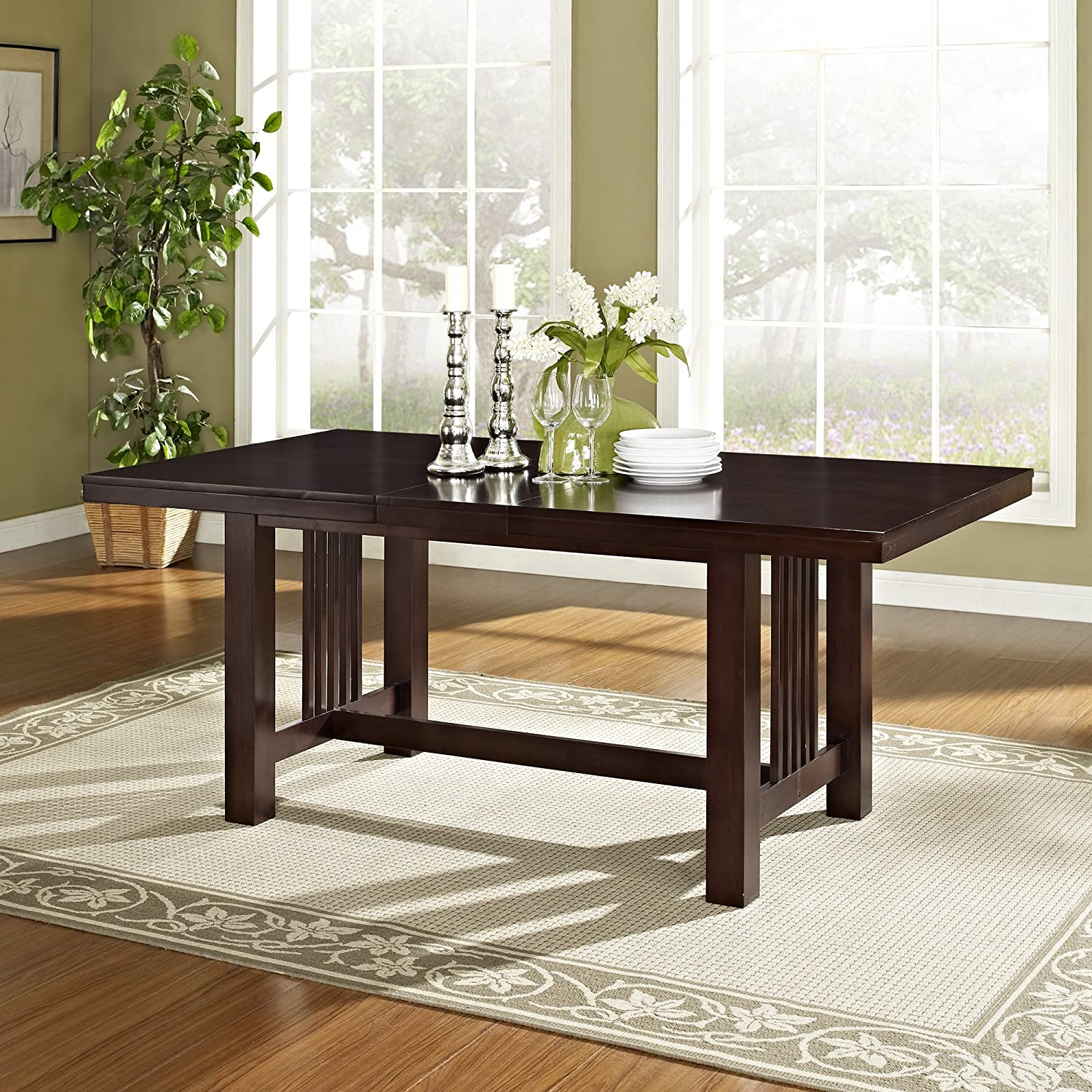 WE Furniture Simple Wood Dining Table, Cappuccino