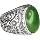 custom design customization Ring jewelry Byzantine Empire ring natural jade gemstone steel pen crafts handmade Mens sterling silver ring
