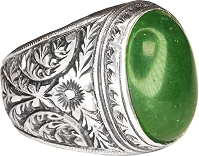 Free Express Shipping Falcon Jewelry 925 Sterling Silver Men Ring Natural Emerald Gemstone Steel Pen Craft
