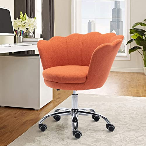 SSLine Home Office Chair,Modern Living Room Chair Linen Fabric Shell Accent Chair,360 Upholstered Adjustable Swivel Armchair Reception Chair