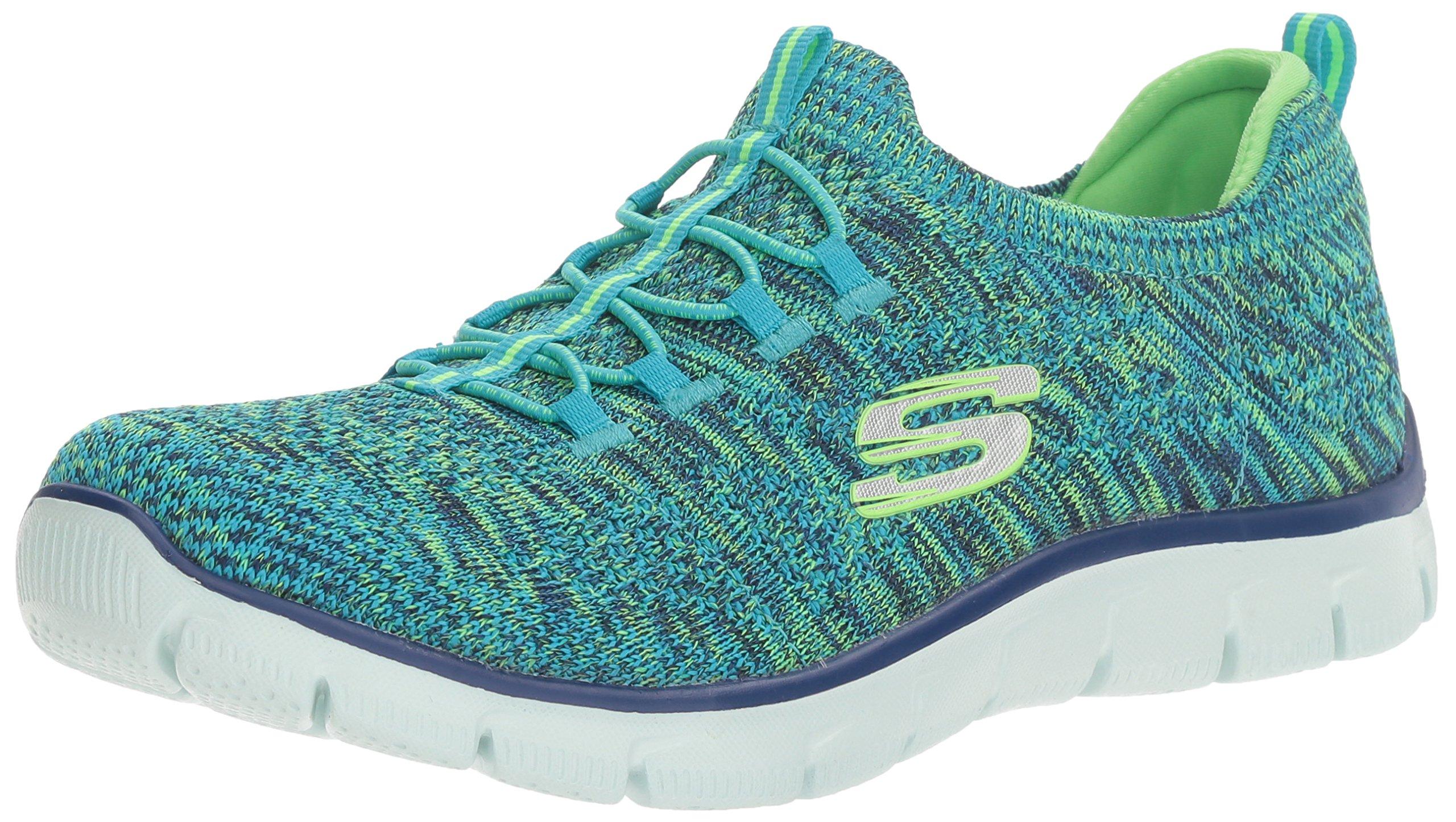 Skechers Sport Women's Empire Sharp Thinking Fashion Sneaker,Blue/Lime,9.5 M US