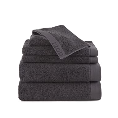 CLASSIC EGYPTIAN COTTON 6 PIECE TOWEL SET BY IZOD - 2 Bath Towels, 2 Hand Towels, 2 Wash Cloths - Premium, Soft, Absorbent - Sport, Home - Machine Washable - Night Gray
