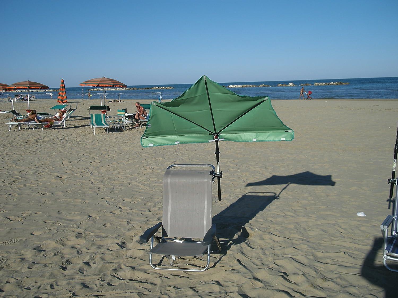STABIELO - balcón - silla-sombrilla Holly'mat - compartimentos pantalla verde claro - con Holly 5 compartimento para radio ajustable 360° MULTI - soporte GVC (35 EUR) - para fijaciones de diámetro 25