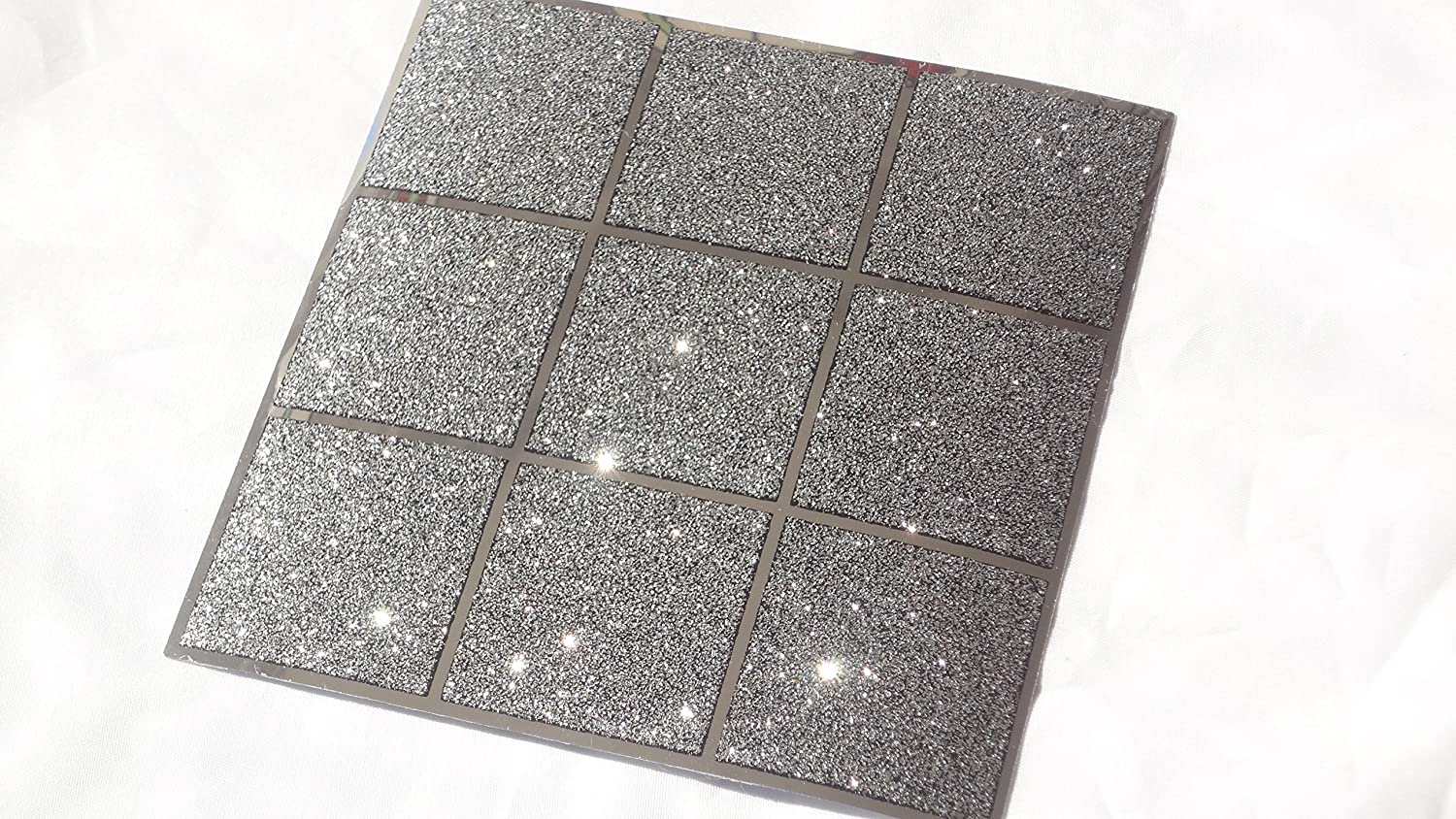 Pack Of 10 Black And Silver Glitter Mosaic Tile Transfers Stickers Bathroom Kitchen Stick On Wall Peel Size 6X6 Amazoncouk Home
