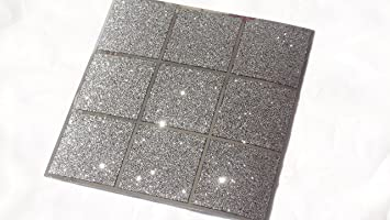 Pack Of 10 Black And Silver Glitter Mosaic Tile Transfers Stickers Bathroom  Kitchen Stick On Wall Part 73