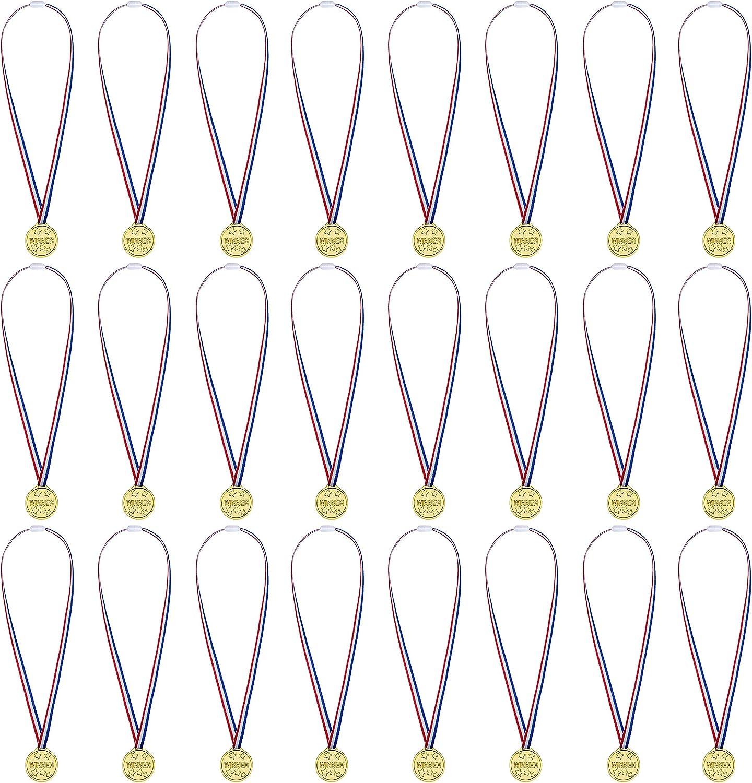 Premio Medallas,Ganadores Medallas el Plastico con Ribbon para Niños Fiesta Deportiva Competición Juegos 24packs
