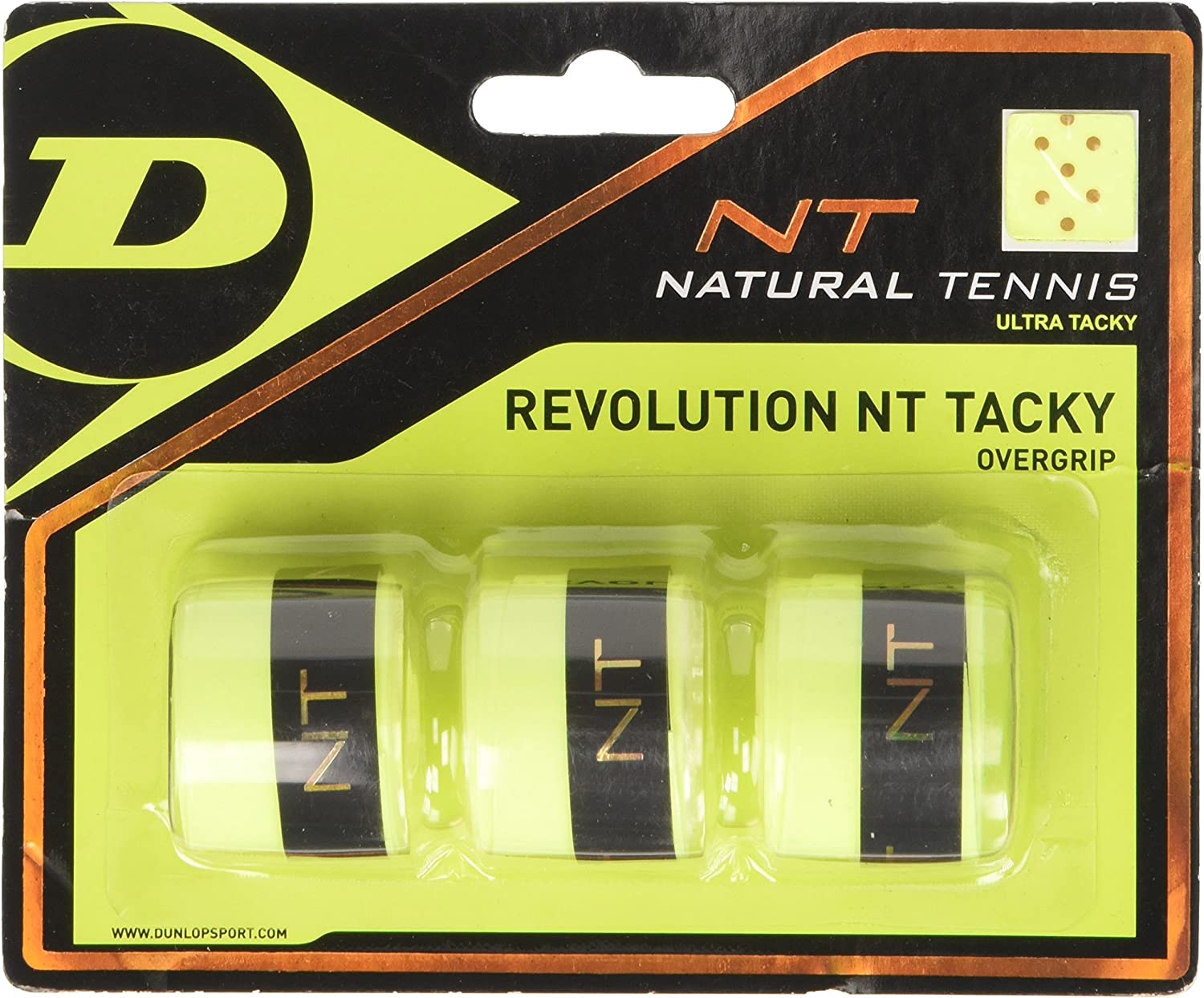 Dunlop Over Grip Revolution NT Tacky 3 Unidades, Amarillo, One ...