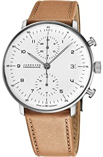 Junghans Max Bill Chronoscope Mens Automatic Chronograph Watch - 40mm Analog Silver Face with Luminous Hands
