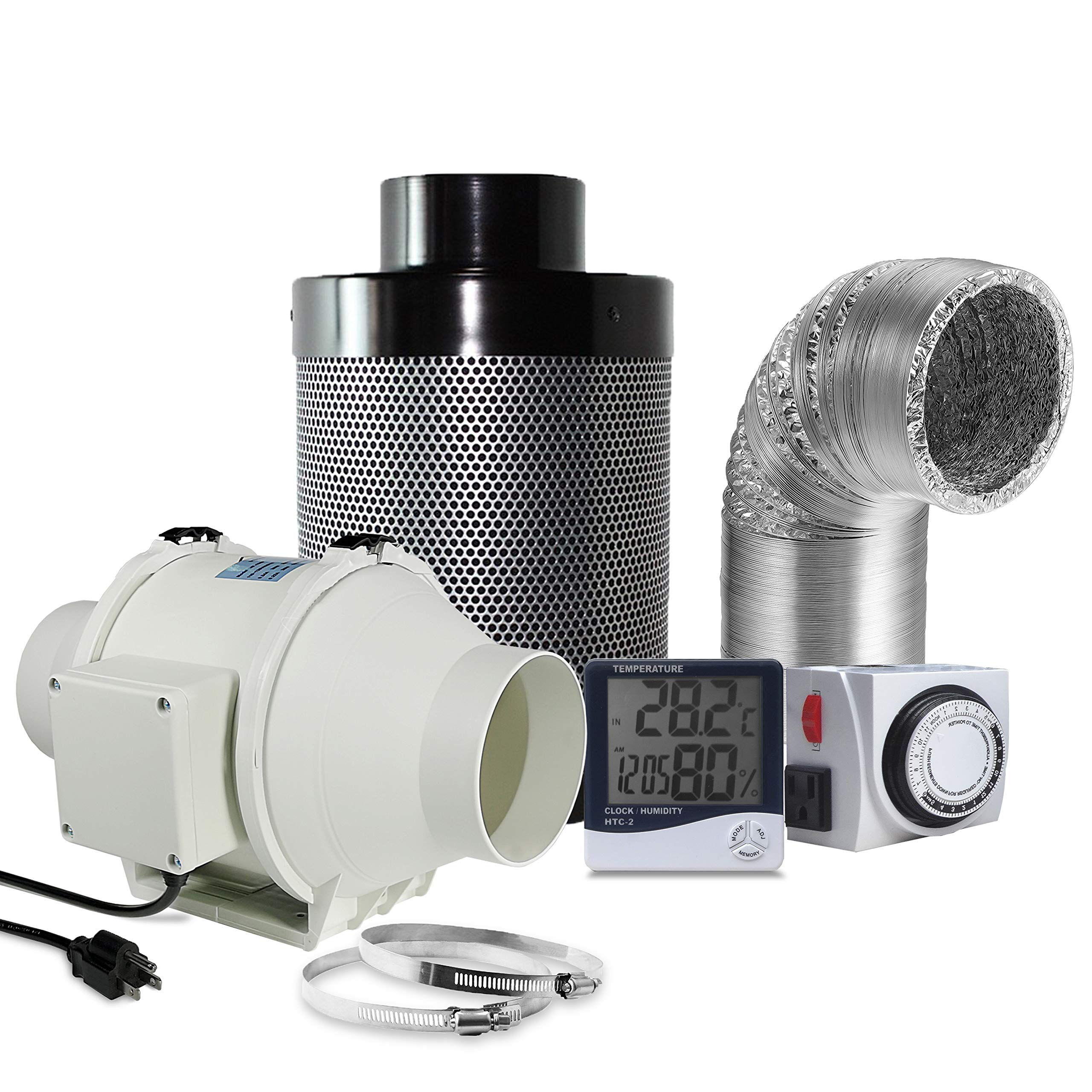 Oppolite 4'' Inline Duct Ventilation Fan Vent Blower Carbon Filter Ducting Combo + Hygrometer Thermometer + 24 Hour Timer Outlet for Hydroponics Grow Tent Ventilation System (4'' Ventilation Kit) by Oppolite