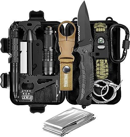 Equipo de supervivencia 13 en 1 accesorios de caza equipo de acampada y senderismo caza y pesca regalo de Navidad para hombres papá novio marid