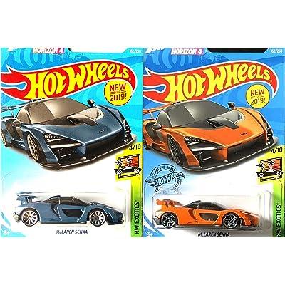 Hot Wheels McLaren Senna 162/250 Orange and Blue Forza Horizon 4 2 Car Bundle Set: Toys & Games