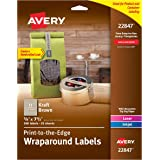 Avery Print-to-the-Edge Label Strips, Kraft Brown, 0.625 x 7.5 Inches, Pack of 300 (22847)