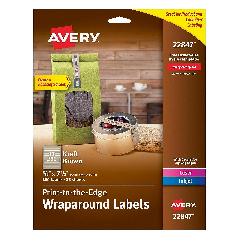 Amazon.com : Avery Print-to-the-Edge Label Strips, Kraft Brown ...