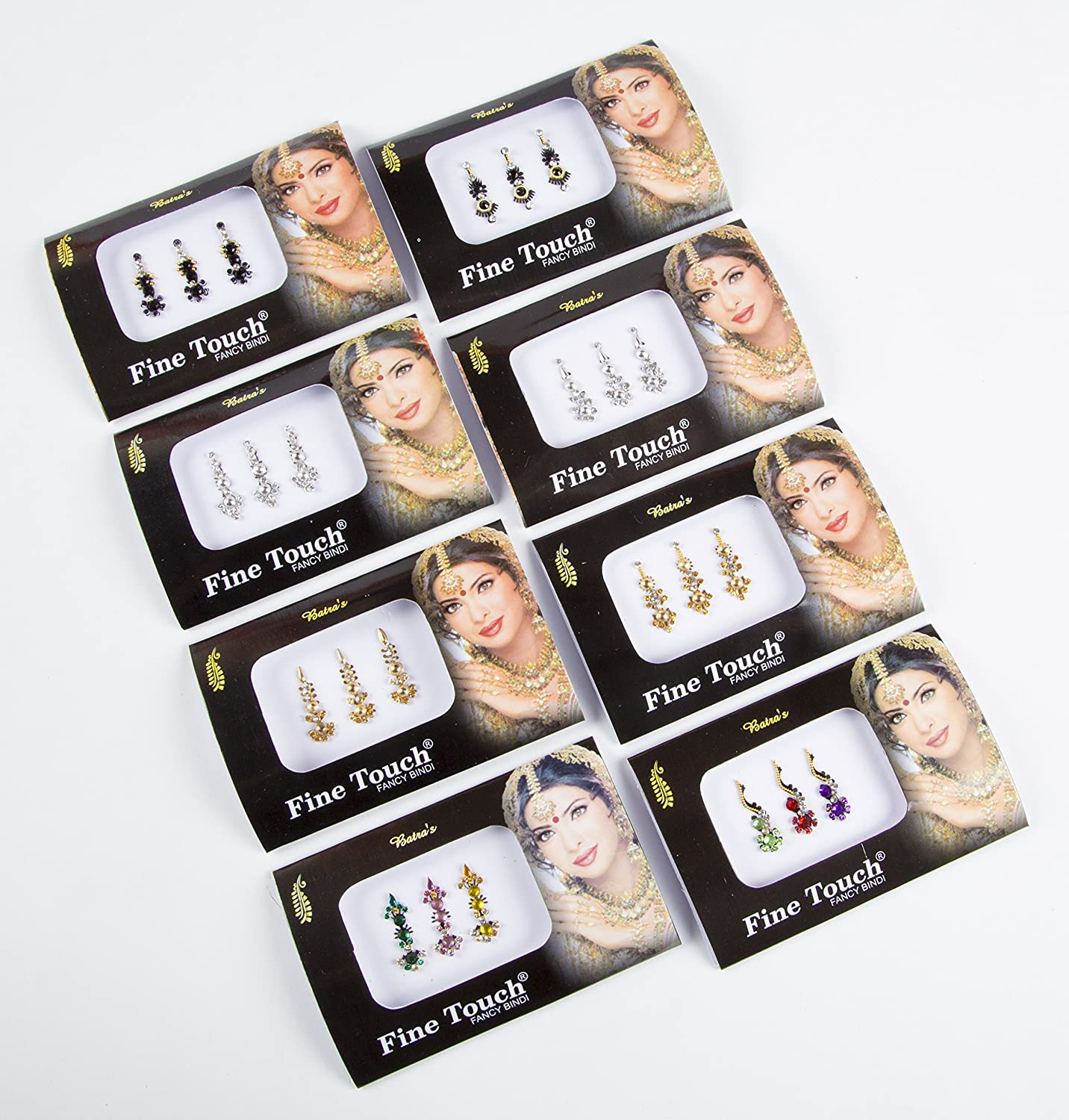 8 Bindi Pack- 24 Combo Bindi Stickers Multicolored,Silver,Gold,Black, Bindi Tattoo Bindi Jewelry Sheesham IVY LLP