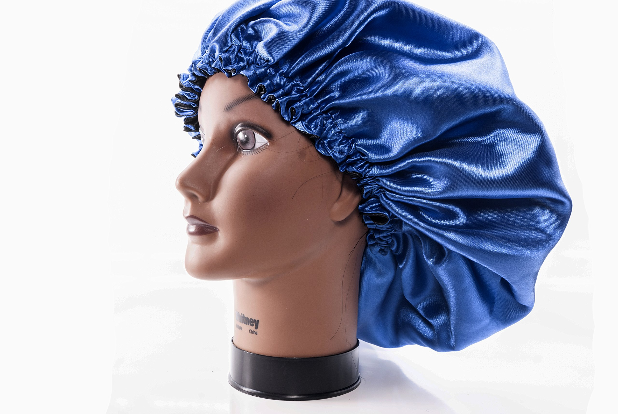 (X-Large, ROYAL BLUE) New 24'' Handmade Fully Reversible Luxuries Pure Satin Hair Bonnet Safe For All Hair Types - Most Beneficial Hair care Product Available- Royal Sensations Bonnet