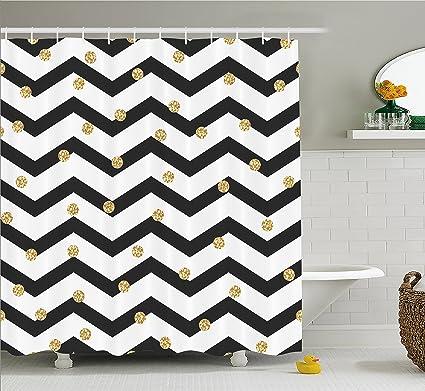 QuotAmbesonne Chevron Shower Curtain Zig Zag Symmetric Pattern With Golden Yellow Polka Dots