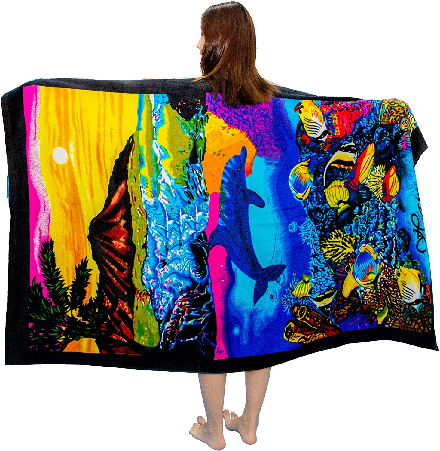 """VNICGFOMGT Bath Towel 100% Pure Cotton Soft Tropical Hawaiian Beach Blanket 71""""x41"""" for Adults Swimming Surfing Spa Diving Decor, Ocean Carnival"""