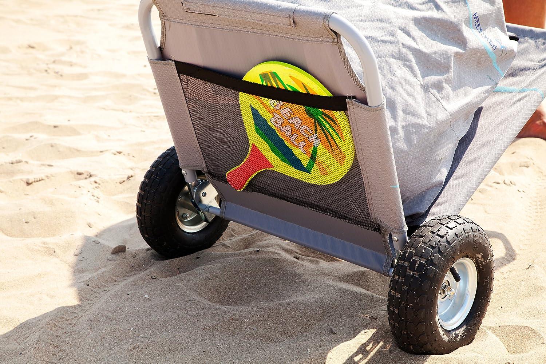 Meerweh Mar WEH Plegable con Bolsa Carro Playa Playa Tumbona Gris//Azul 118/x 63/x 75/cm