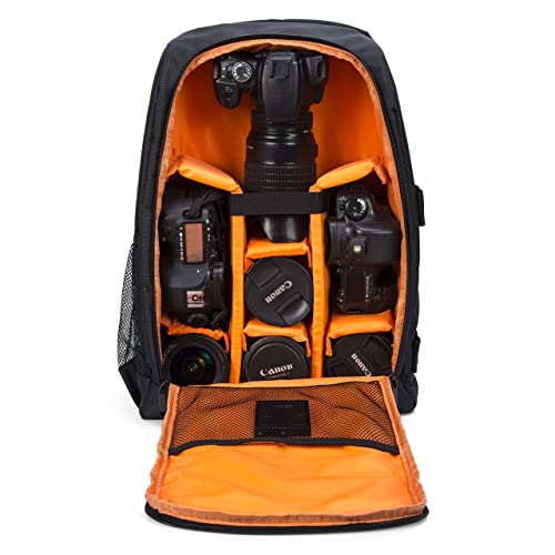 Huntvp Camera Backpack DSLR SLR Camera Rucksack Large Waterpoof Anti-shock Smart Photography Video Bag with Rain Cover(Size 30 * 16 * 43cm) Orange