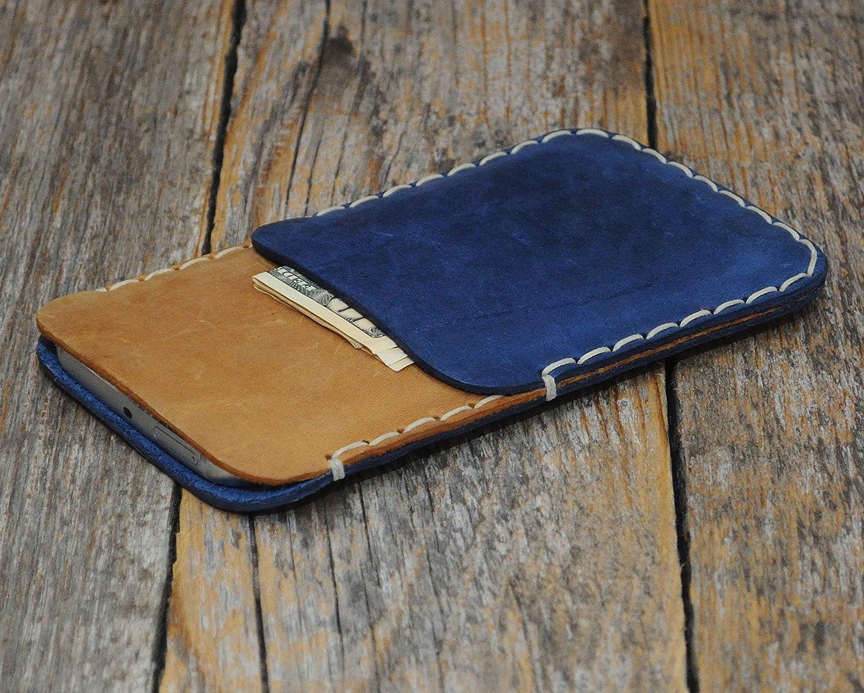 Marrone chiaro et Blu custodia a guscio per iPhone XS Max, 8 Plus, 7 Plus, 6/6s Plus in cuoio con 1 porta carta di credito e banconote verticale portacellulare cover case caso