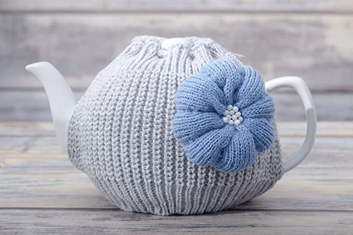 Marvelous Light Grey Teapot Cozy With Light Blue Flower Kitchen Accessories Tea Pot  Warmer Home Accent Housewarming