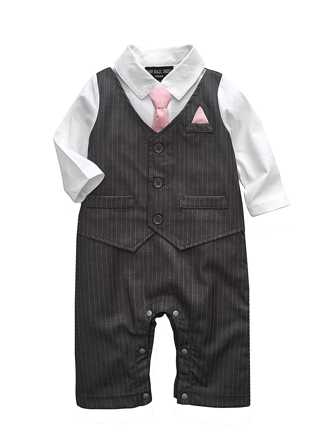 Baby Boy Wedding Tuxedo Waistcoat Design 1pc Outfit Suit (3-6 Month ...