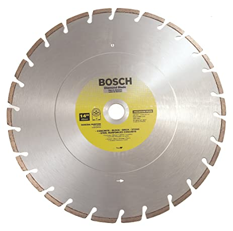 concrete saw blade. bosch db1461 premium plus 14-inch dry or wet cutting laser fusion semented diamond saw concrete blade