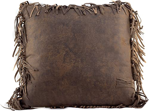 Western Tooled Burgundy Triple Tassle Throw Pillow