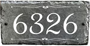 """Sassy Squirrel Beautifully Handcrafted and Customizable Slate Home Address Plaque (12""""x6"""", 12""""x8"""", 18""""x8"""", or 16""""x10"""") Improve the curb appeal of your property with this bespoke house sign."""