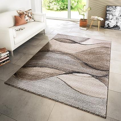 Tappeto moderno per salotto, ondulato, screziato grigio/beige/panna ...