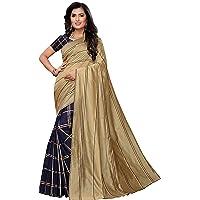 Anni Designer Women's Cotton Silk Blend Lining Saree With Blouse Piece(ZEBRA-Colors_Free Size)