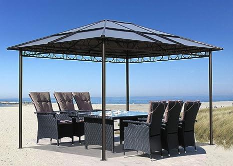 QUICK STAR - Carpa de metal para jardín, 3 x 3,6 m, doble planchas de policarbonato, techo para fiestas, pérgola
