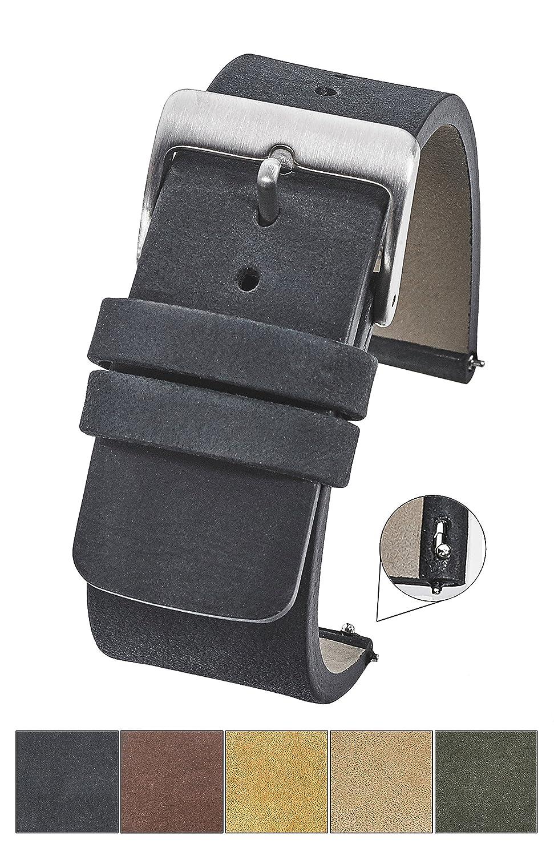 Genuineスエードレザー厚いフラット時計ストラップクイックリリーススプリングバー – ブラック、Bown、グリーン、ベージュ&マスタード – 20 mm 22 mm 24 mm 22MM ブラック 22MM|ブラック ブラック 22MM B0793G6Q26