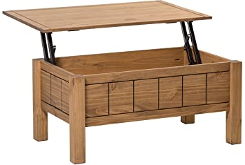 Right Deals UK Corona Lift Up Coffee Table Storage Mexican Design - Solid wood lift up coffee table