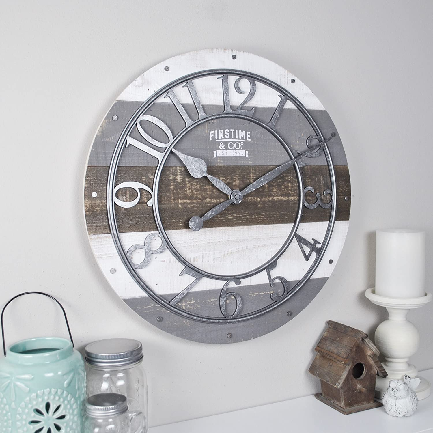 "FirsTime & Co. Shabby Wood Wall Clock, 16"", Gray"