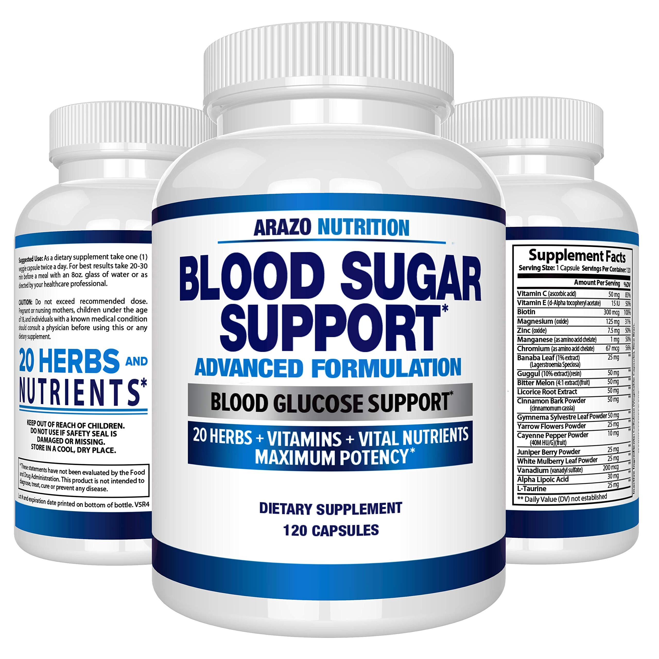 Blood Sugar Support Supplement - 20 HERBS & Multivitamin for Blood Sugar Control with Alpha Lipoic Acid & Cinnamon - 120 Pills - Arazo Nutrition