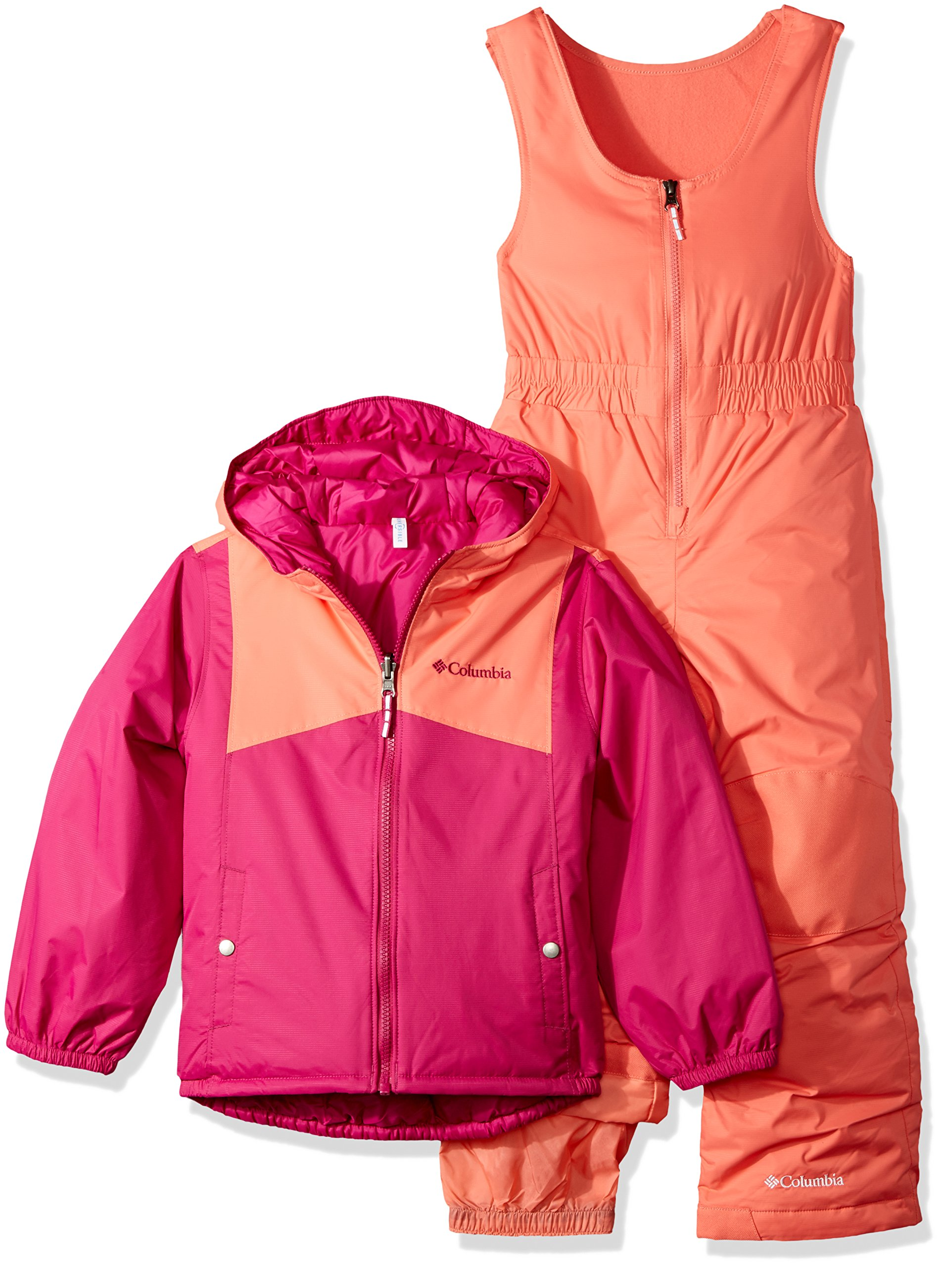 Columbia Girls' Toddler Double Flake Set, Deep Blush, Hot Coral, 3T by Columbia