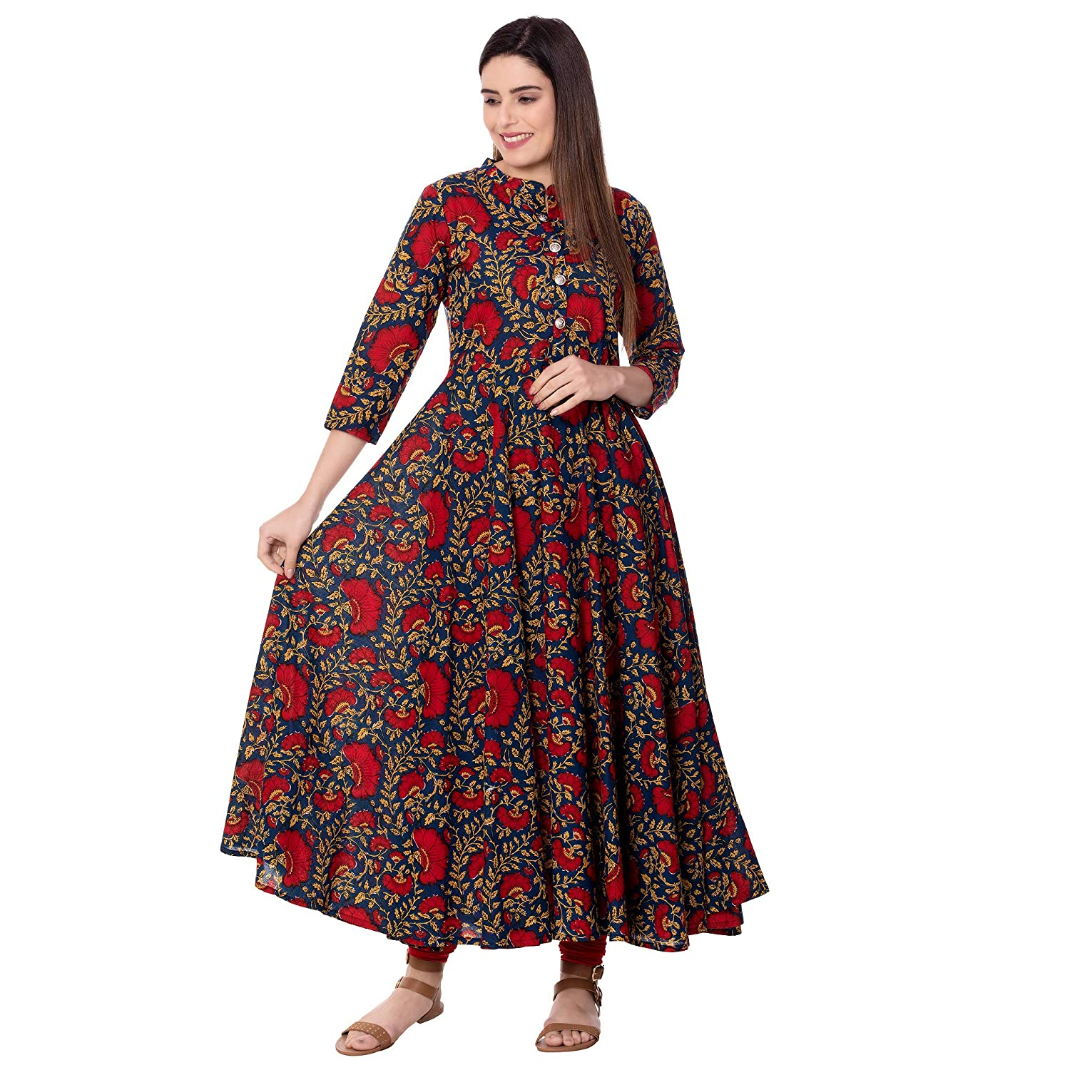 Women's Cotton Printed Anarkali Kurta