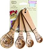 Talisman Designs Measuring Spoons, Solid Beechwood, Laser Etched Dog Collection, 4 Piece Set includes 1 Tablespoon, 1 teaspoon, 1/2 teaspoon and 1/4 teaspoon