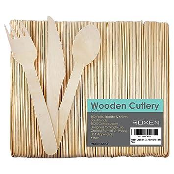 Desechables de madera juego de utensilios de cubertería ...
